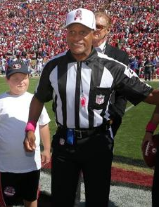 Jerome Boger conducts the coin toss at a Week 5, 2012 game in San Francisco between the Bills and 49ers. (San Francisco 49ers photo)