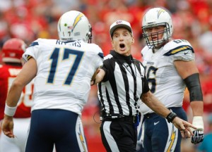 Bill Leavy Philip Rivers Chiefs at Chargers Sept 30 2012 (SD photo)